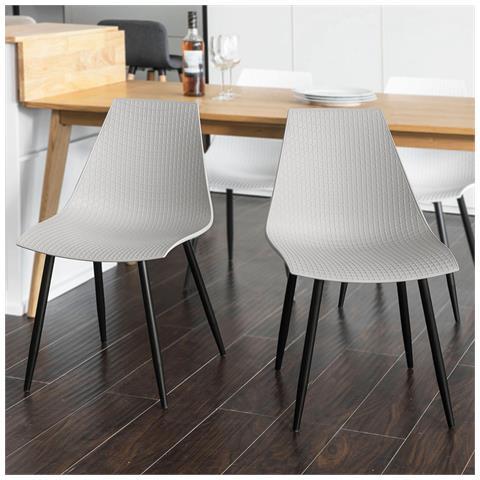 SoBuy Set 2 Sedie Moderno Da Sala Da Pranzo, sedie Cucina Sedie Colorato  Fst60-hgx2 (grigio)