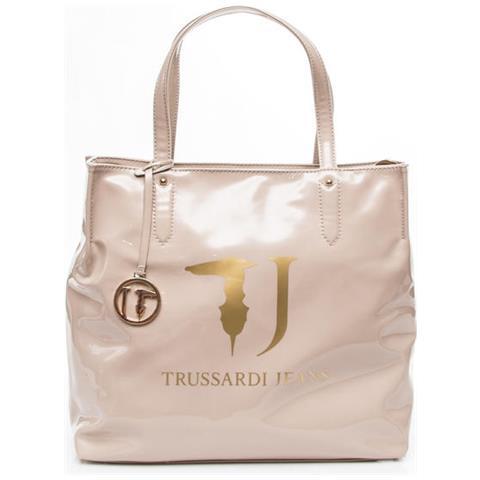 5d2efe8688eeef TRUSSARDI JEANS - Borsa Donna Shopping Vernice Con Logo Beige 75b01ver. 05  - ePRICE