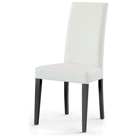 Storm Set 2 sedie liam 5 gambe legno grafite seduta e schienale ecopelle  bianca