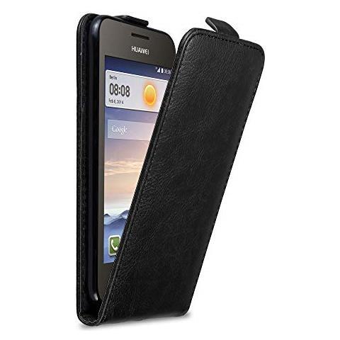Cadorabo Custodia Per Huawei Y330 In Nero Di Notte - Protezione In Stile Flip Con Chiusura Magnetica - Case Cover Wallet Book Etui