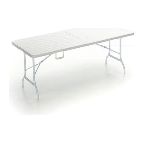 Tavolo Catering Con Gambe Pieghevoli.Q Bo Tavolo Catering Pieghevole Con Piano D Appoggio Effetto Rattan 180 Centimetri Colore Bianco