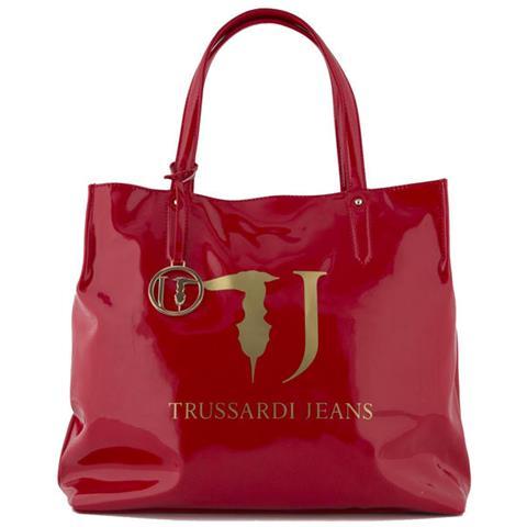 dac28fb15b4fe4 TRUSSARDI JEANS - Borsa Donna Shopping Vernice Con Logo Red 75b01ver. 35 -  ePRICE