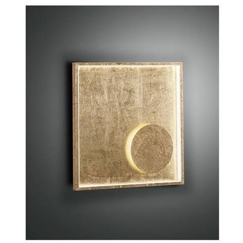 FABAS Applique Led In Foglia Oro Lampada Da Parete Da Soggiorno In Metallo  H40cm; L 40x40cm; Sp 6cm Led 22w 1980lm Bianco Caldo