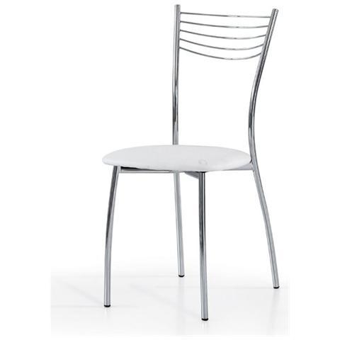 Storm - Set 6 sedie glove metallo cromato ecopelle bianca - ePRICE