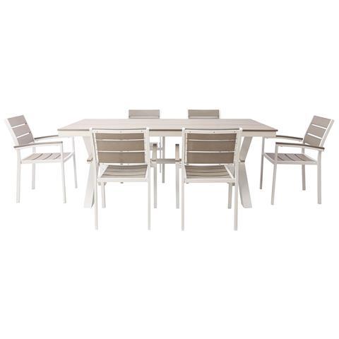 Tavolo Bianco E Sedie Grigie.Miliboo Salotto Da Giardino Con Tavolo E 6 Sedie In Metallo Bianco E Legno Grigio Viaggio