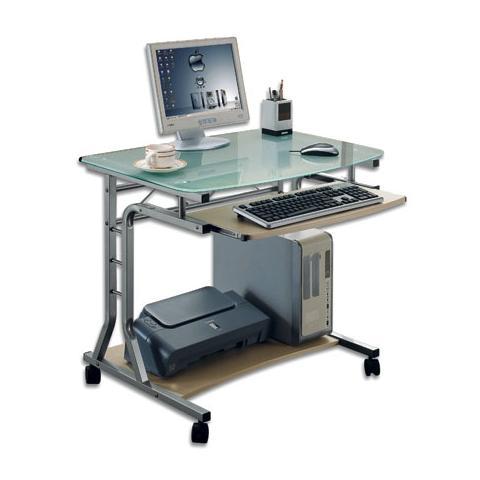 Tavolo Pc Cristallo.Techly Ica Tb 3791a Scrivania Per Pc Compatta In Metallo E Vetro Con Ruote