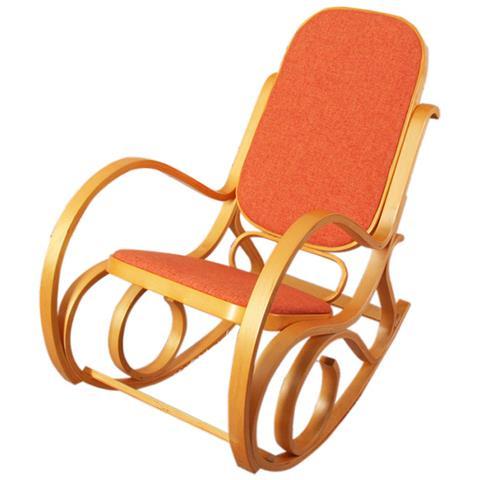Sedia A Dondolo Tessuto.Mendler Sedia A Dondolo M41 Legno Chiaro Seduta Tessuto Arancio