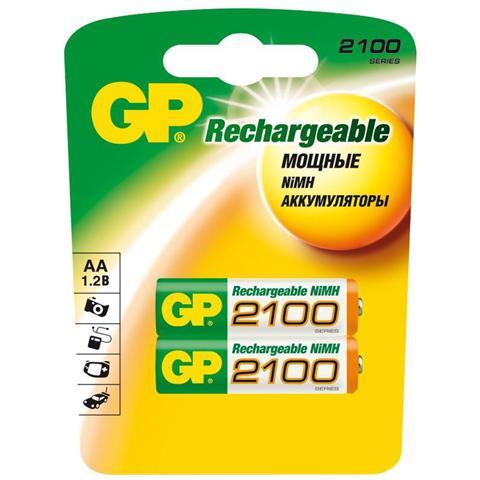 Batteria Ricaricabile AA 2100 mAH 1.2 V 2 pz