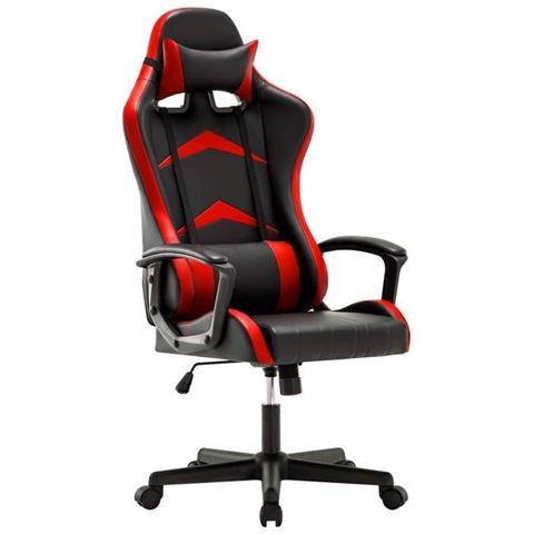 Iwmh Sedia Gaming Ufficio Da Scrivania Poltrona Ergonomica Sedie Da Gaming Altezza Regolabile E Supporto Lombare Rosso Eprice