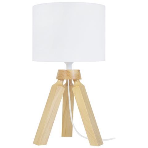 Lampada Da Tavolo In Legno Naturale.Tosel Gaby Lot 2 Pcs Lampade Da Tavolo Legno Naturale 1xe14 Paralume Cilindrico Tissuto Crudo Lu16xla16xal24cm