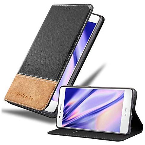 Cadorabo Custodia Libro Per Huawei P9 Lite In Nero Marrone - Con Vani Di Carte, Funzione Stand E Chiusura Magnetica - Portafoglio Cover Case Wallet ...