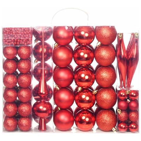 Palline Di Natale.Vidaxl Set Palline Di Natale 113 Pz 6 Cm Rosse Eprice
