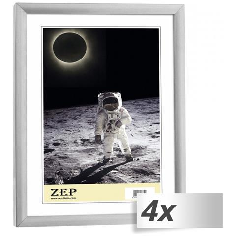 Cornice Portafoto in Plastica 15 x 20 cm Colore Argento 4 pz