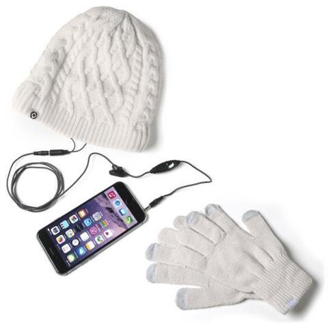 selezione più recente nuovo economico Scarpe 2018 CELLY Winterkit Guanti Touch Screen + Cappello con Auricolari Stereo  Integrati Colore Bianco