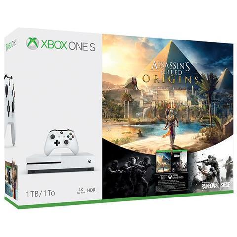 Console Xbox One S 1TB + Assassin's Creed Origins e Rainbox Six