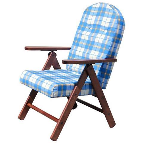 Sedie A Sdraio Torino.Milanihome Poltrona Sdraio 4 Posizioni Blu Con Cuscino Per Interno Veranda Salotto Sdraio Portico