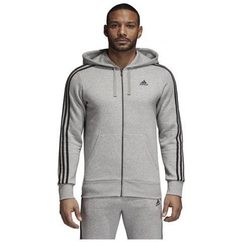 felpa adidas uomo con cappuccio e zip  adidas - Classic 3s Full Zip Hoody Brushed Felpa Con Cappuccio ...