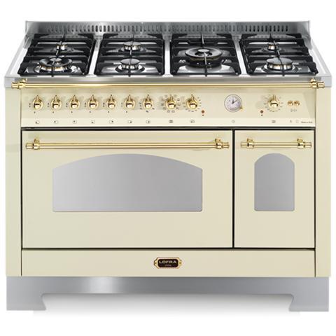 LOFRA Cucina Elettrica RBID126MFT+E / 2AEO Fuochi a Gas Forno Elettrico  Ventilato Dimensione 120 x 60 cm Colore Avorio