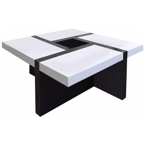 Mobili Rebecca Tavolino Da Salotto Bianco Nero Arredamento Moderno Living  Sala
