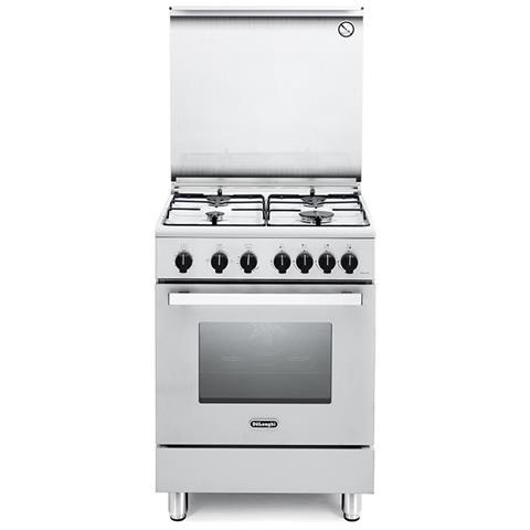 DE LONGHI Cucina DGW 64 4 Fuochi a Gas e Forno Elettrico / Gas  Multifunzione Classe A+ Dimensioni 60 x 60 cm Colore Bianco Serie Nuove  Design