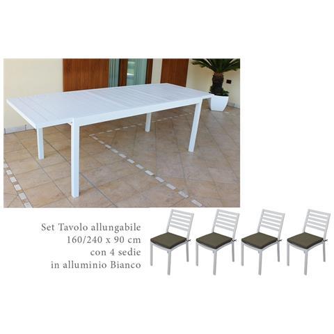 Tavolo Allungabile Con 4 Sedie.Milanihome Set Tavolo Giardino Allungabile Rettangolare 160 240 X