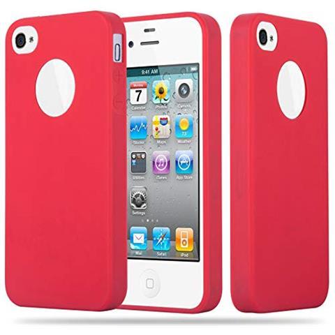 Cadorabo Custodia Per Apple Iphone 4 / Iphone 4s In Candy Rosso - Morbida Cover Protettiva Sottile Di Silicone Tpu Con Bordo Protezione - Ultra Slim ...