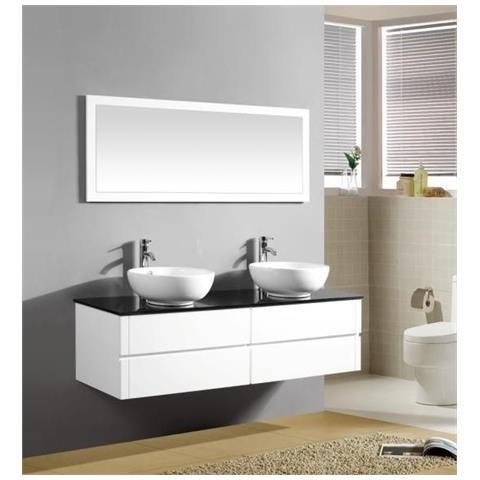 Arredo Bagno Moderno Bianco.Bagno Italia Mobile Arredo Bagno 150cm Sospeso Bianco Con Lavabo D Appoggio E Specchio Mobili 1 Eprice