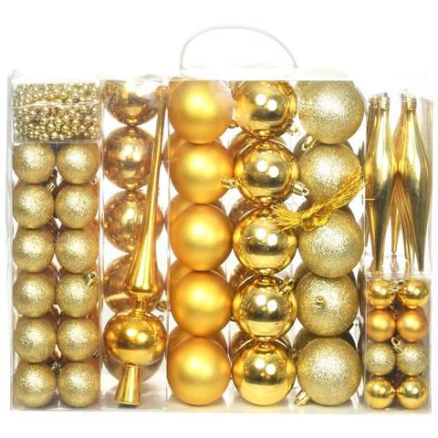 Immagini Natale Oro.Vidaxl Set Palline Di Natale 113 Pz 6 Cm Oro Eprice