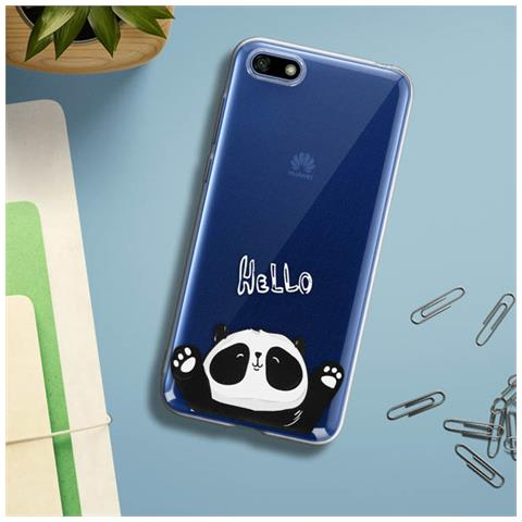 Avizar Cover Huawei Y5 2018 / honor 7s Cover Morbida Trasparente Motivi Hello Panda