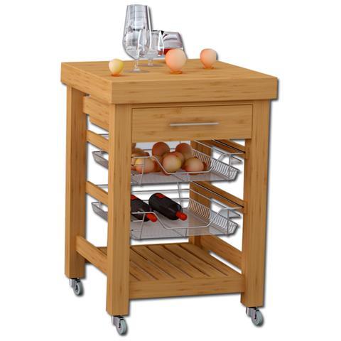 HOMEGARDEN - Carrello di servizio per cucina in legno con 1 cassetto ...