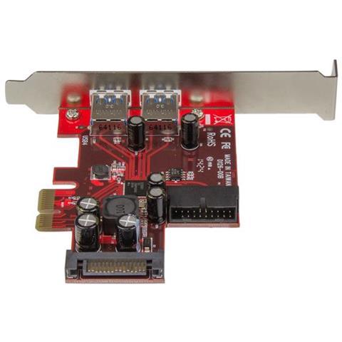 4 Porte Scheda Adattatore PCIe USB 3.0 con 2 Porte Esterne e 2 Interne USB 3.0 Wendry Scheda di espansione da PCI-E a USB 3.0 Staffa a Basso Profilo connettore a 20 Pin
