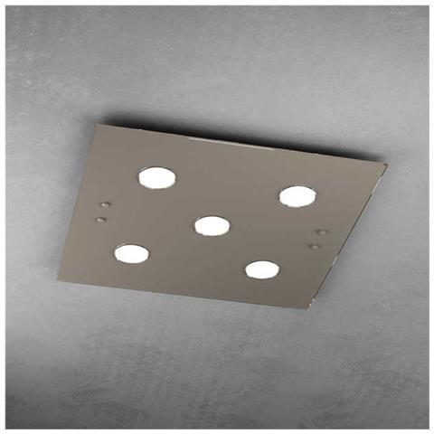 Plafoniera Quadrata A Led.Toplight Plafoniera Moderna Led 5xgx53 Vetro Tortora L 60 X 60 Cm Quadrata