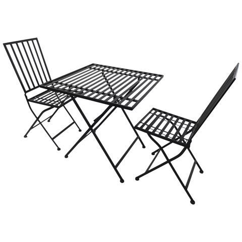 Sedie Da Giardino In Metallo.Outsunny Set Da Bistrot 3pz Tavolo E Sedie Da Giardino Terrazzo