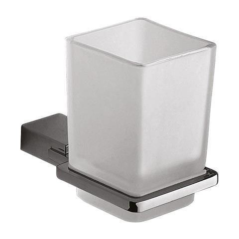 2 Bicchieri Porta Spazzolino Dentifricio Da Muro Parete Acciaio Vetro dfh