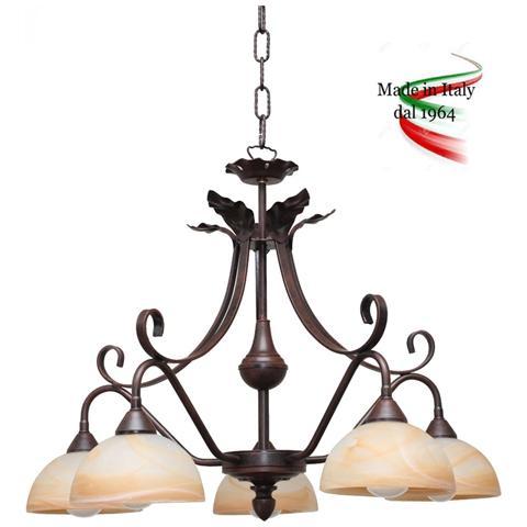Lampadari In Ferro Battuto.Valastro Lighting Rudyfb24115al Sp5 B Lampadario A Sospensione Ferro Battuto Colore Bianco