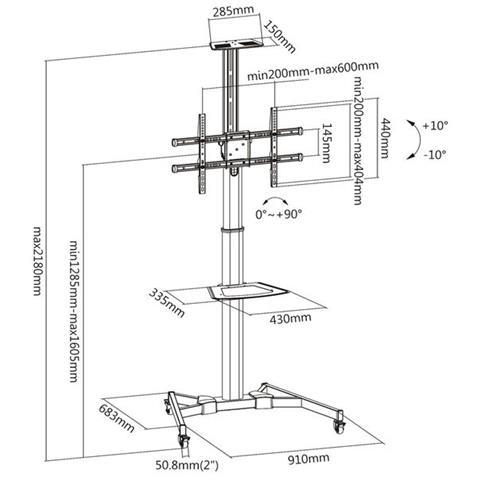 KIMEX - 030-1200 Supporto Da Pavimento A Colonna Per Tv Lcd Led Da ...