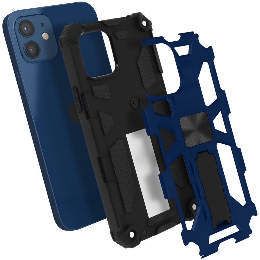 Avizar Cover Iphone 12 / 12 Pro Antiurto Bumper Cavalletto Magnetico Blu Metallizzato