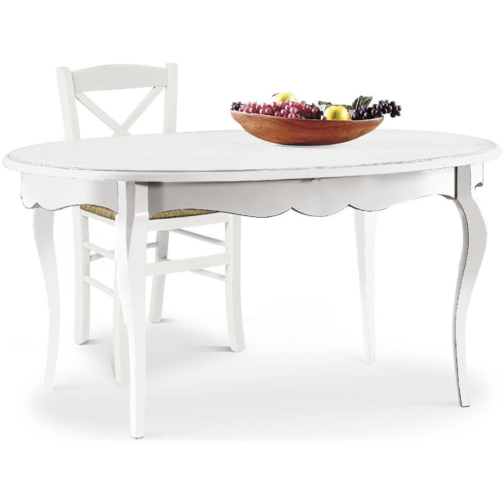 Tavolo Bianco In Legno estense tavolo ovale allungabile in legno bianco opaco