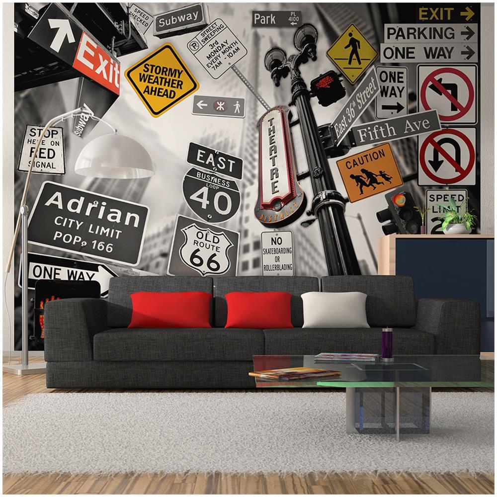 Carta Da Parati Nera artgeist carta da parati segnali di nyc su sfondo bianco-nero 350x270cm