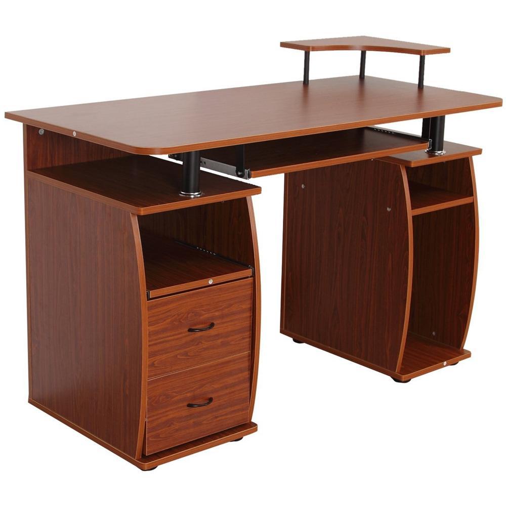Scrivania Pc Noce.Homcom Scrivania Per Computer Scrivania Ufficio Porta Pc Con Ripiano Tastiera 120 X 55 X 85 Cm Noce