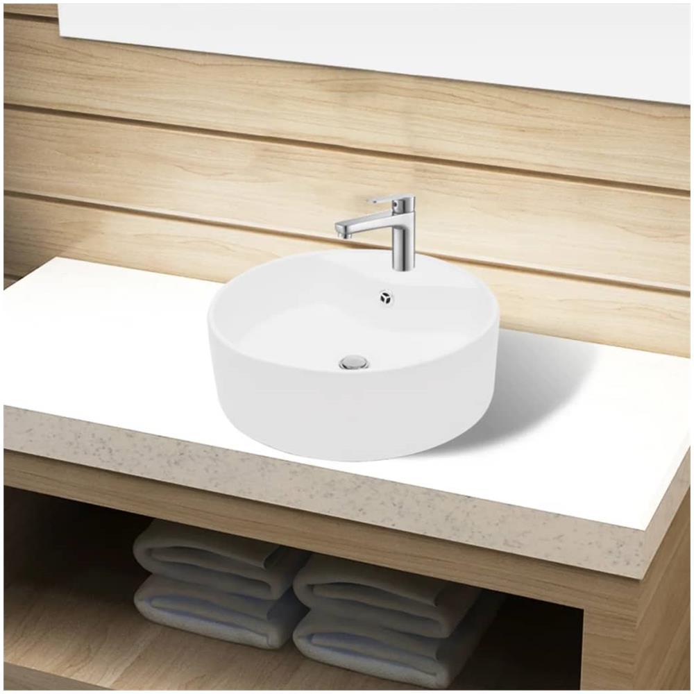 Lavello In Ceramica Da Cucina vidaxl lavandino bagno in ceramica bianca rotondo con foro di trabocco