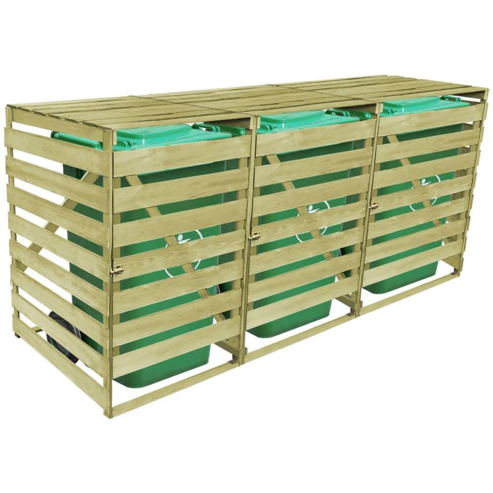 Box Per Bidoni Spazzatura vidaxl copribidone triplo per spazzatura in legno impregnato 240 l