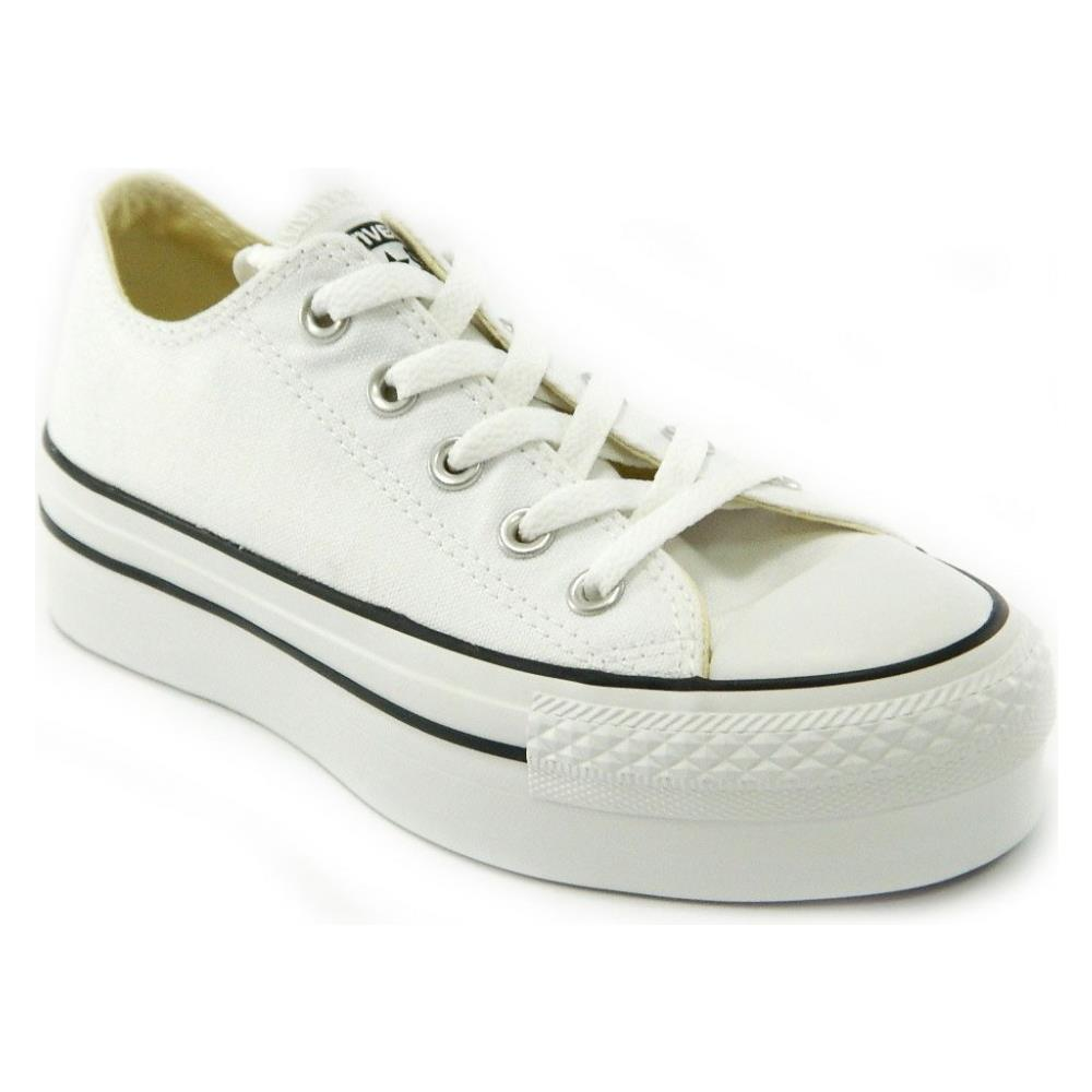 Converse All Star CT Platform OX White Scarpe Donna Bianche Tela 540265c