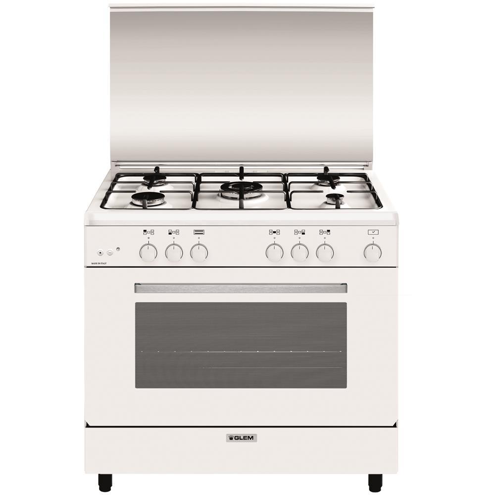 GLEM GAS - Cucina a Gas A965GX 5 Fuochi Gas Forno Gas Classe A ...