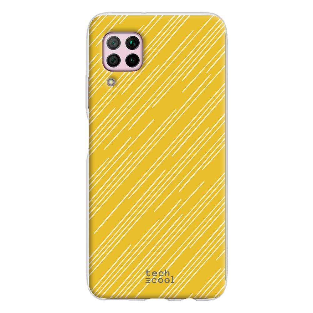 Techcool Cover, Custodia Per Huawei P40 Lite L Silicone Linee Sfondo Giallo