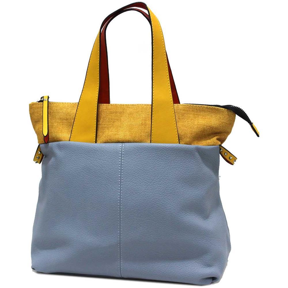 le più votate più recenti stile attraente eccezionale gamma di stili e colori Lookat Borsa Donna Similpelle E Canvas Shopping A Spalla Linea Casual Y9180  Blu
