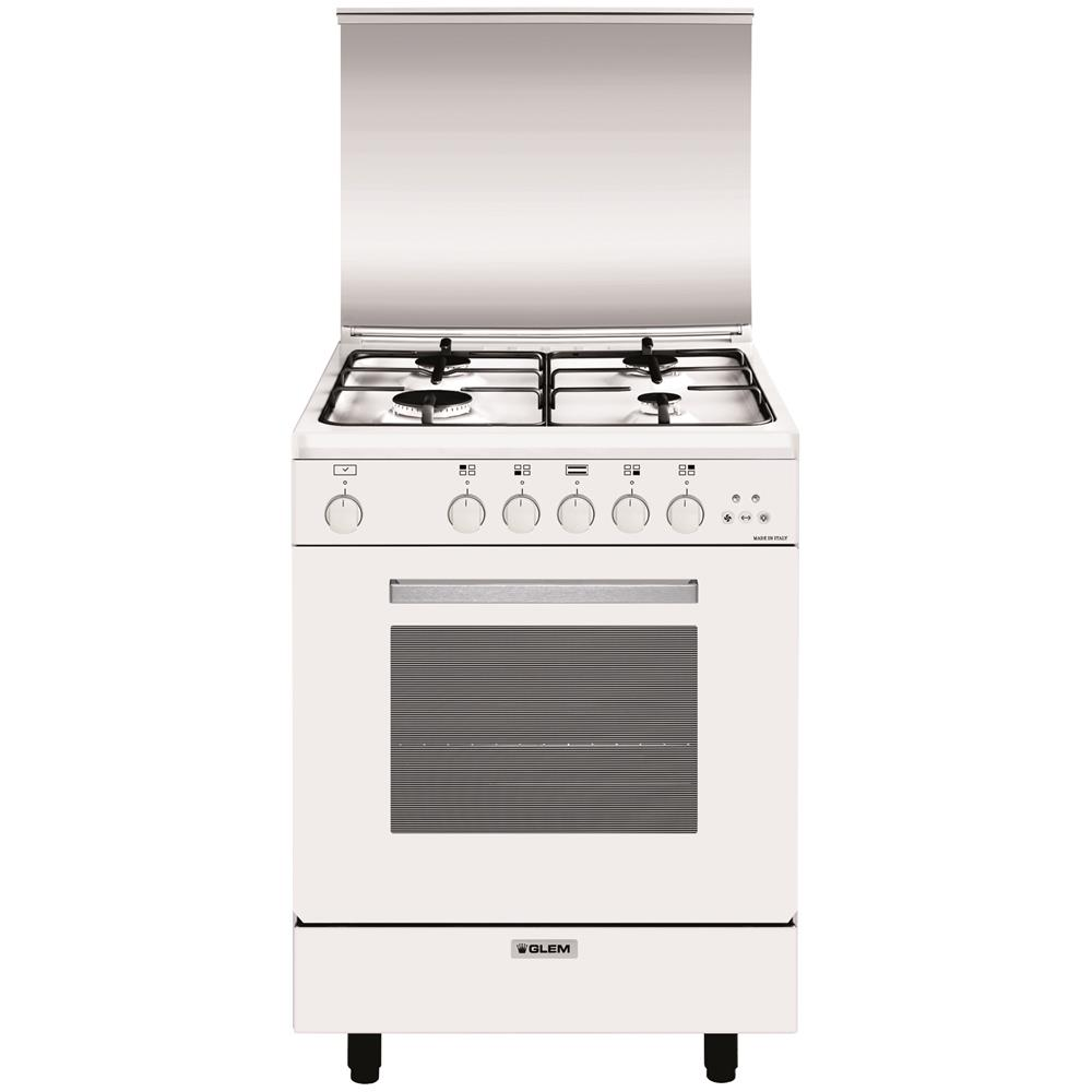 GLEM GAS - Cucina a Gas A654VX 4 Fuochi Gas Forno Gas Classe A ...