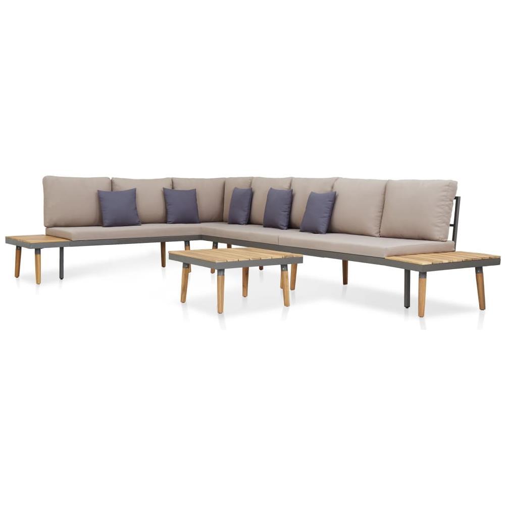 Cuscini Su Divano Marrone vidaxl set divani da giardino 5 pz con cuscini legno di acacia marrone