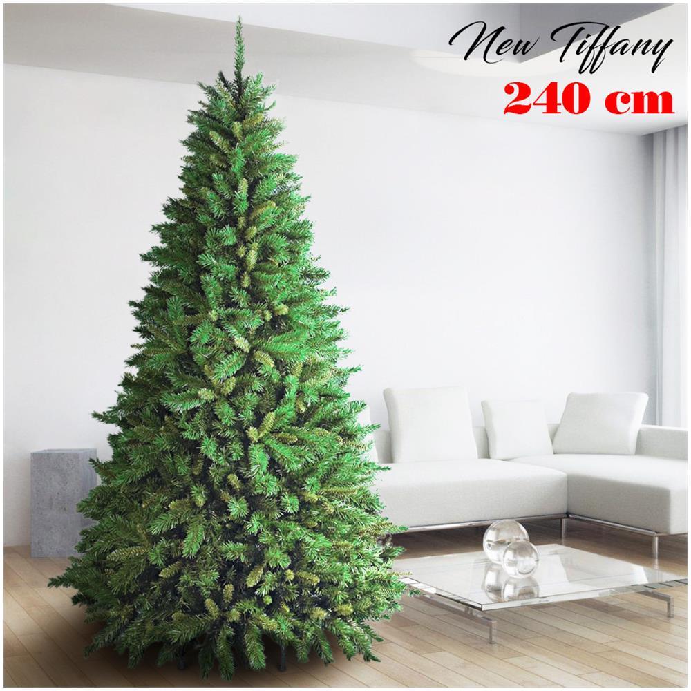 Albero Di Natale H 240.Bakaji Albero Di Natale 240cm New Tiffany Super Folto 1516 Rami Pino Verde Base A Croce Eprice