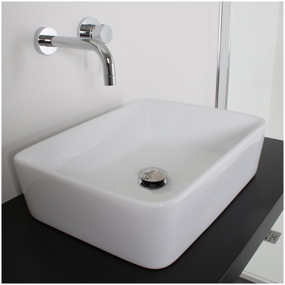 Lavello Bagno Da Appoggio bagno italia lavandino da appoggio rettangolare di dimensione 48x37 cm in  ceramica bianca moderno design